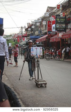 Mine Victim At Downtown Siem Reap