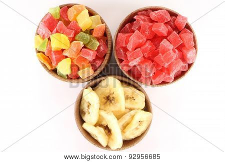 Dried Pineapple(candied Fruits) And Dried Bananas In A Circular Form
