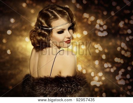 Retro Woman Hairstyle Portrait And Makeup, Fashion Model With Curly Hair Style, Girl Back View