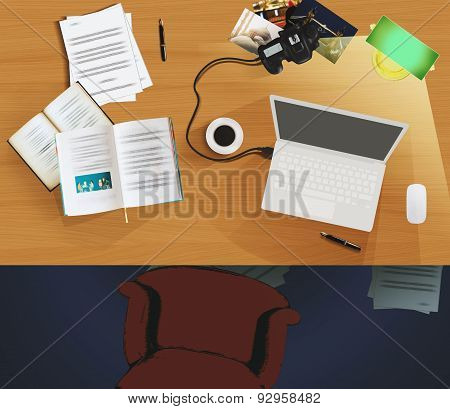 Top View Of A Desktop Used As Workplace