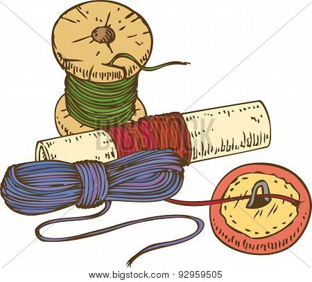 Three Color Spools of Thread and Button