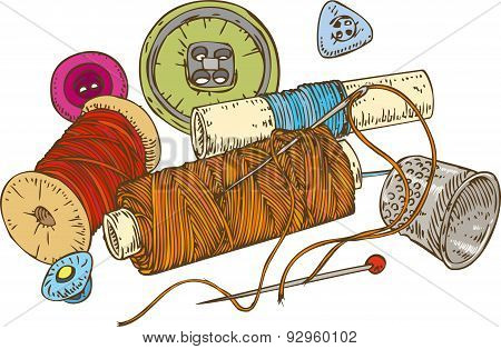 Three Color Spools of Thread, Buttons, Thimble and Pin