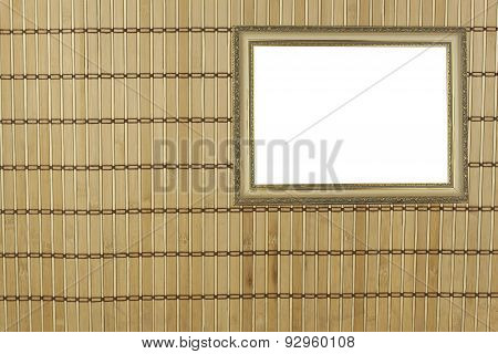 Bamboo mat as background. Detailed front view of the structure of a bamboo mat.