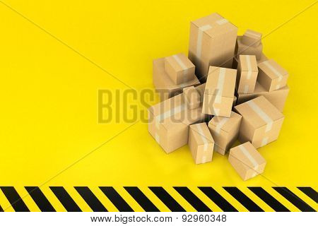 3D rendering of a pile of boxes on a stripped black and yellow background
