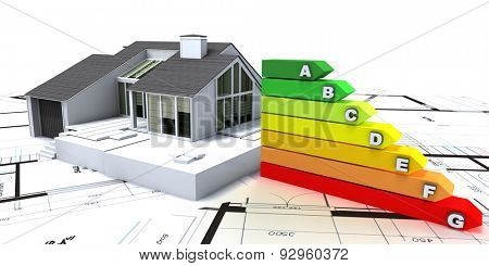 3D rendering of a house on top of blueprints, with an energy efficiency rating chart