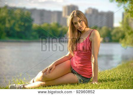 Girl at riverside