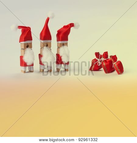Clothespins. Santa Claus.