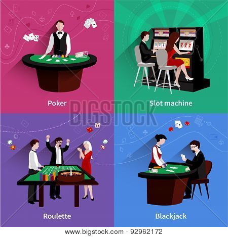 People In Casino Set