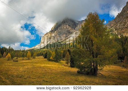 Landscape In Autumn At Passo Falzarego, Dolomites, Italian Alps
