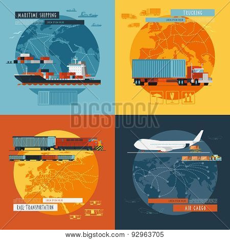 Logistic4 flat icons banner