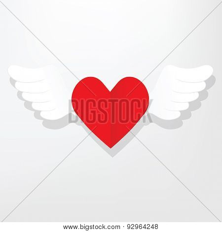 flat heart with wings