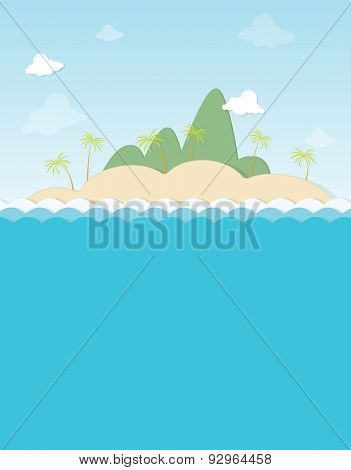 island with palm trees in the mountains
