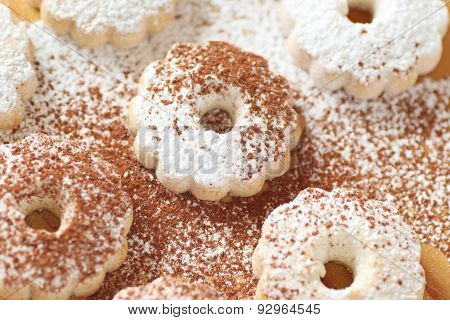 Italian Canestrelli Biscuits With Both Powdered Sugar And Cocoa Power