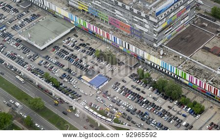 Parking Is Near The Building Of The Tv Company