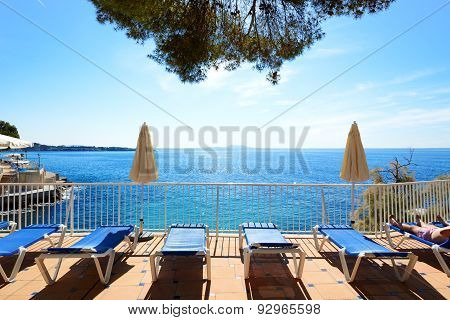 The Sea View Terrace At Luxury Hotel, Mallorca, Spain