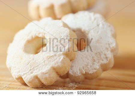 Italian Canestrelli Cookies Sprinkled With Icing Sugar