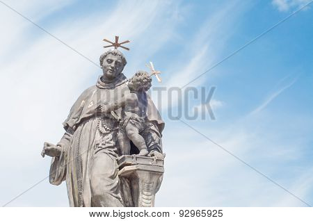 Beautiful Statue On St. Anthony Of Padova On Charles Bridge