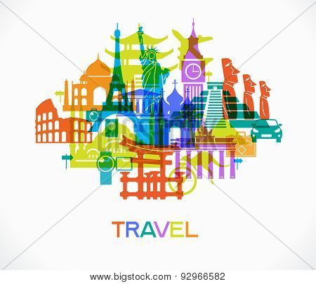 Abstract design with famous landmarks. Vector illustration. File is saved in AI10 EPS version. This illustration contains a transparency