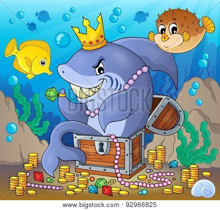Shark with treasure theme image 2 - eps10 vector illustration.