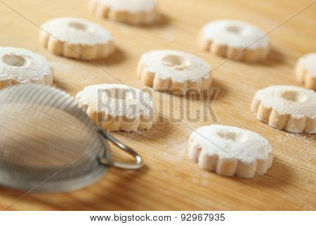 Italian Canestrelli Cookies With A Strainer For Icing Sugar