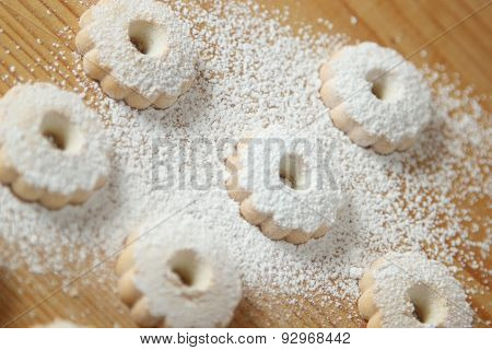 Italian Canestrelli Biscuits Covered With Powdered Sugar