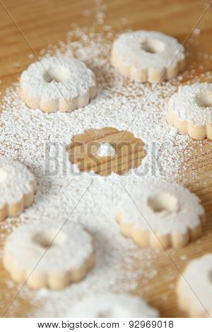 Italian Canestrelli Biscuits Sprinkled With Powdered Sugar With A Missing Cookie