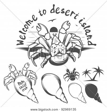Monochrome illustration of palm thief crab.