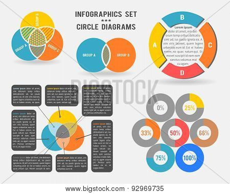 Vector infographics set of circle diagrams