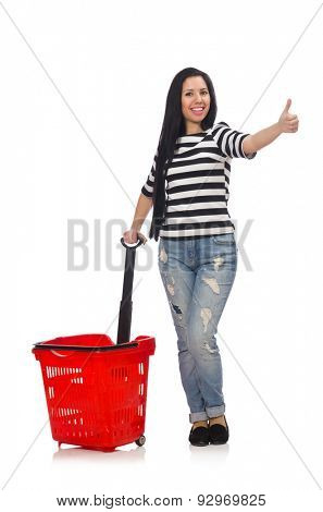 Woman with shopping cart isolated on white