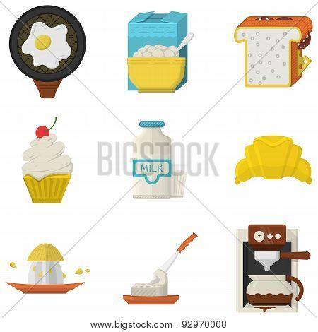 Flat vector icons for morning menu