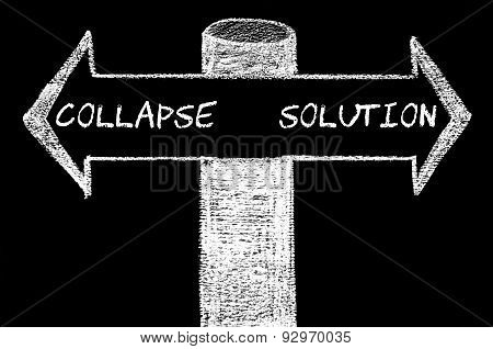 Opposite Arrows With Collapse Versus Solution