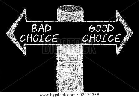 Opposite Arrows With Bad Choice Versus Good Choice
