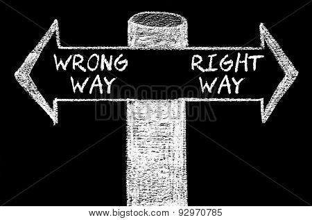 Opposite Arrows With Wrong Way Versus Right Way