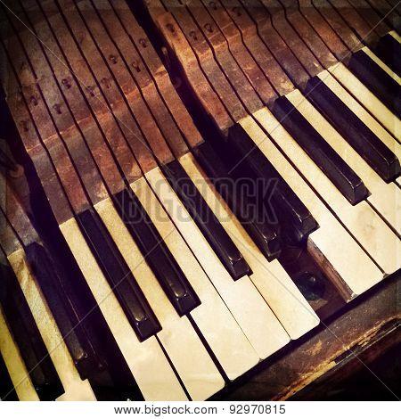 Keys Of A Broken Antique Piano