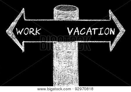 Opposite Arrows With Work Versus Vacation