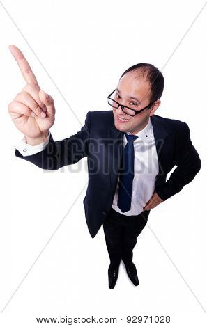 Funny man with glasses isolated on white