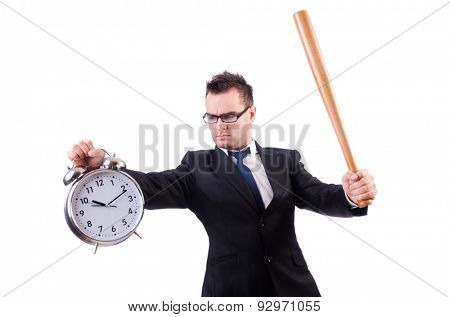 Man hitting the clock with baseball bat isolated on the white