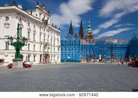Repair Of The Facade On The Prague Castle.