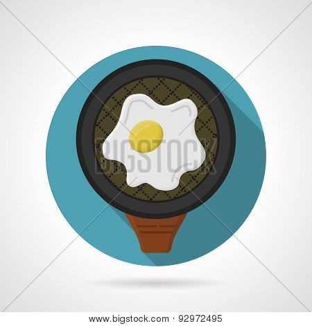 Flat color vector icon for fried egg