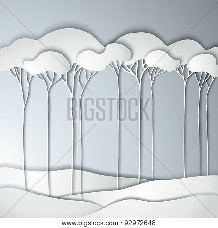 Abstract spring paper tree