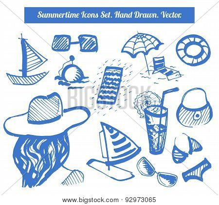 Vector Summer Fun Sings Set. Hand Drawn Marker Summertime Icons For Your Design.