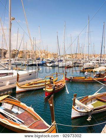 Valletta, Malta - 25 May 2015: many yachts and boats in the bay near Valletta pot in Malta