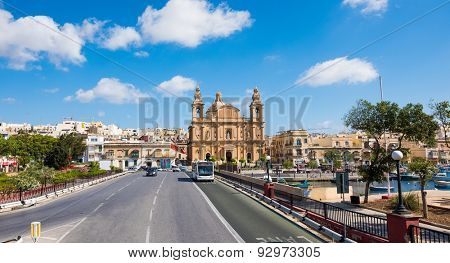 Valletta, Malta - 25 May 2015: picturesque photo of Msida Parish Church in Valletta from Triq Marina road in Malta