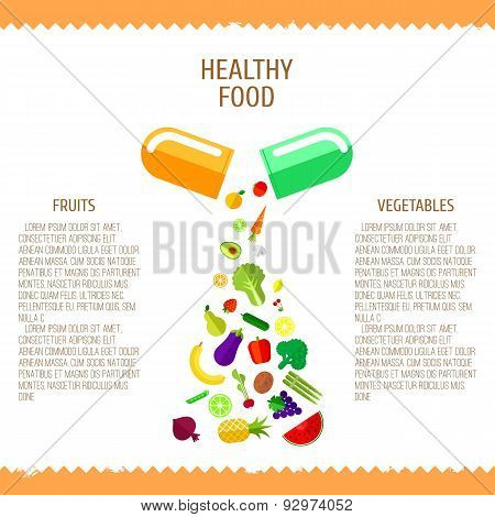 Pill With  Fresh Vegetables And Fruits