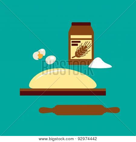 Baking concept with flour and dough