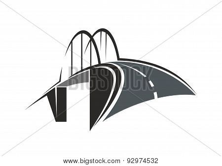 Arch bridge and road icon