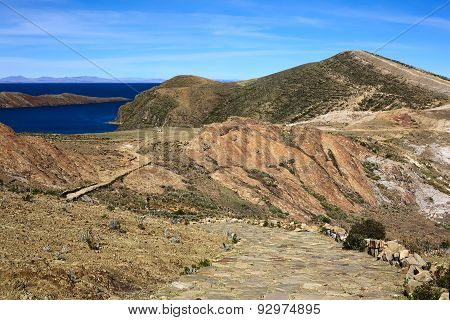 Path on Isla del Sol in Lake Titicaca, Bolivia