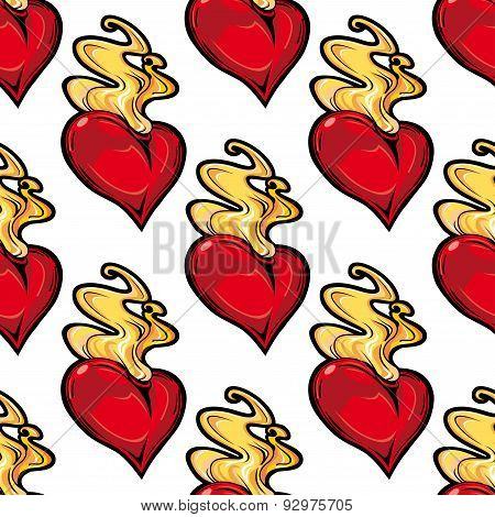 Burning red hot heart seamless pattern