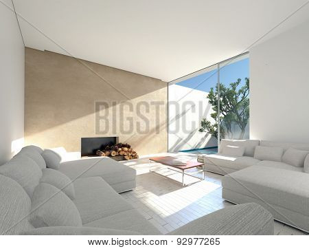 Sunny Mediterranean living room with an enclosed outdoor patio and sun filled room with comfortable sofas and a fireplace with logs. 3d Rendering.