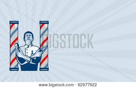 Business Card Barber With Pole Hair Clipper And Scissors Retro